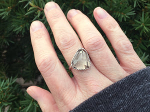 Rose Cut Smoky Quartz Sterling Silver Cocktail Ring