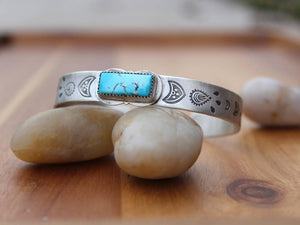 Blue Gem Turquoise Hand Stamped Sterling Silver Cuff Bracelet