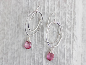 Pink Topaz Sterling Silver Organic Shaped Oval Earrings