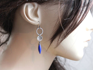 Hand Stamped Lapis Sterling Silver Dangle Earrings