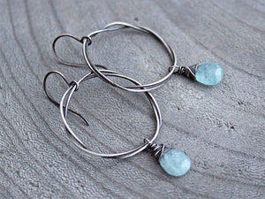 Aquamarine Organic Oxidized Sterling Silver Circle Dangle Earrings