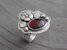 Silver Rose Cut Garnet Ring