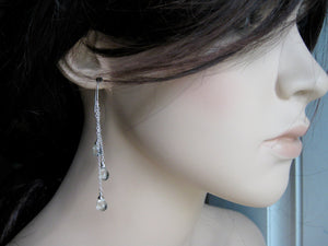 Prasiolite Long Sterling Silver Chain Earrings