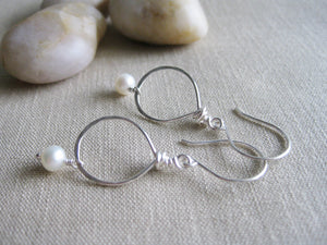 Freshwater Pearl Dangle Sterling Silver Earrings