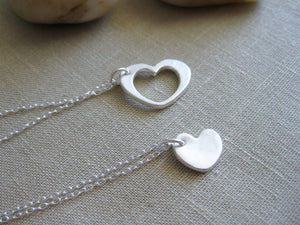 Mother Daughter Recycled Silver Heart Necklace Set