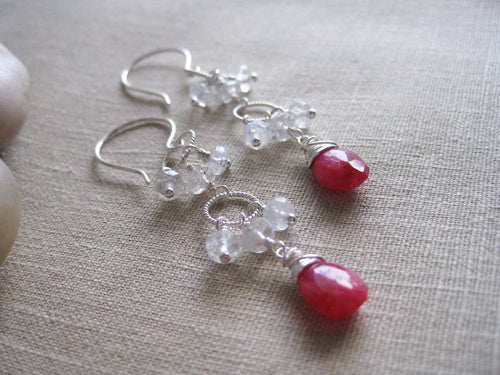 Ruby and  Moonstone Sterling Silver Dangle Earrings