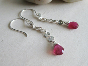 Pink Sapphire Sterling Silver Circle Chain Earrings