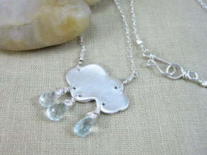Aquamarine Recycled Silver Rain Cloud Necklace