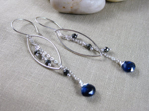 Kyanite Pyrite Sterling Silver Dangle Earrings