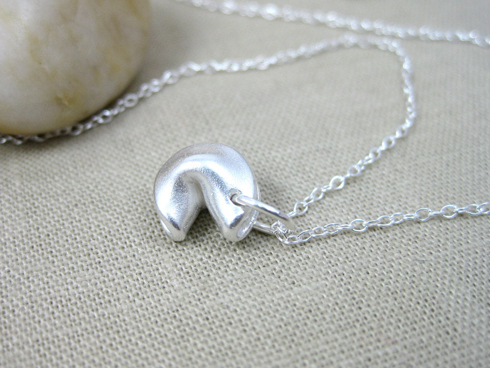 Recycled Silver Fortune Cookie Necklace