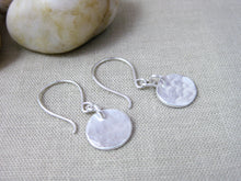 Recycled Silver Hammered Circle Dangle Earrings
