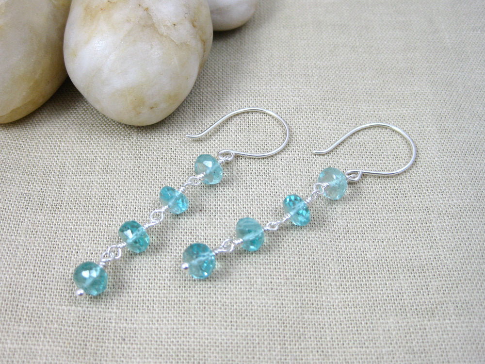 Teal Apatite Sterling Silver Earrings