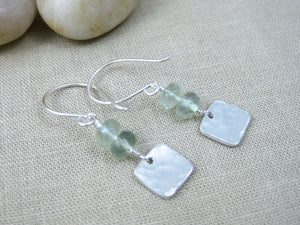 Prehnite Recycled Silver Square Dangle Earrings