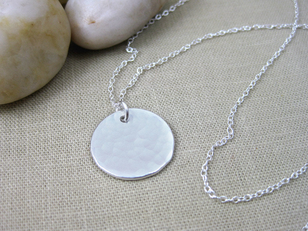 Recycled Silver Hammered Circle Necklace