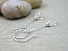 Crystal Quartz Sterling Silver Chain Earrings