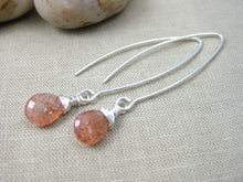 Sunstone Sterling Silver Long Dangle Earrings