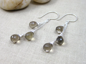 Smoky Lemon Quartz Sterling Silver Chain Earrings