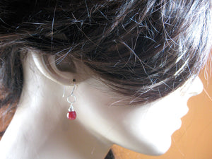 Ruby Sterling Silver Dangle Earrings
