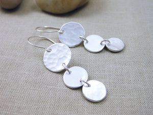 Silver Circle Trio Dangle Earrings