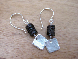 Garnet  Recycled Silver Hammered Square Earrings