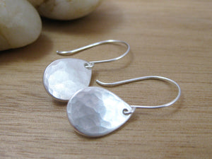Recycled Silver Hammered Teardrop Earrings