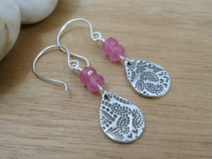Pink Sapphire Recycled Silver Paisley Dangle Earrings