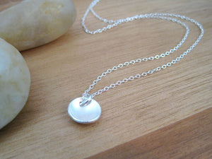 Recycled Silver Brushed Texture Circle Necklace