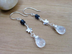 Moonstone Kyanite Sterling Silver Star Dangle Earrings