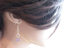 Amethyst Sterling Silver Chain Dangle Earrings