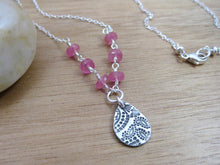 Pink Sapphire Recycled Silver Paisley Necklace