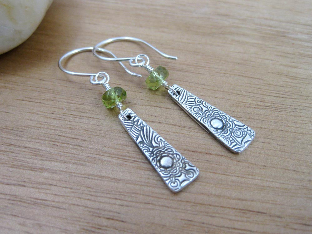 Peridot Recycled Silver Floral Dangle Earrings