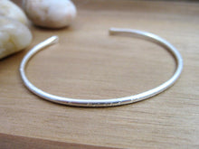 Sterling Silver Thin Hammered Cuff Bracelet — Chipped Finish