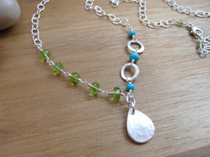 Peridot Sleeping Beauty Turquoise Asymmetrical Gemstone Necklace