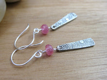 Pink Sapphire Flower Dangle Recycled Silver Earrings