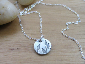 Tiny Recycled Silver Leaf Necklace