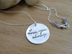 Personalized Handwriting Recycled Silver Necklace