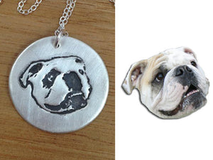 Custom Pet Dog Portrait Recycled Silver Necklace