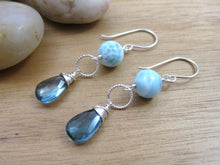 Larimar and London Blue Topaz Sterling Silver Earrings