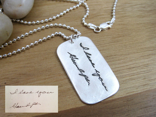 Personalized Custom Handwriting Dog Tag Necklace