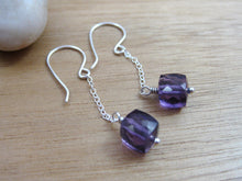 Amethyst Cube Sterling Silver Chain Earrings