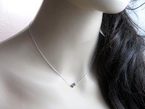 Silver Pyrite Nugget Tiny Layering Necklace