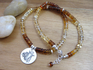 Recycled Silver Honey Bee Ombre Citrine Necklace