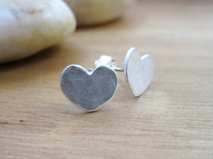 Recycled Silver Heart Stud Earrings