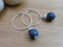 Sapphire Sterling Silver Hoop Earrings