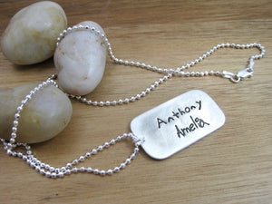 Personalized Childrens Handwriting Mothers Necklace Recycled Silver