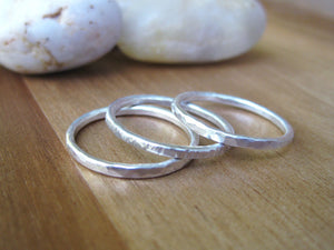 Set of 3 Thin Sterling Silver Stacking Rings