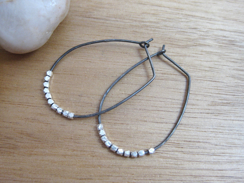 Oxidized Sterling Silver Oblong Embellished Hoops