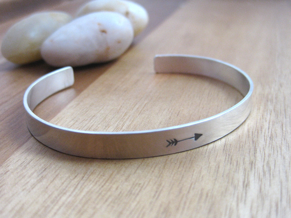 Sterling Silver Hand Stamped Arrow Silver Cuff Bracelet
