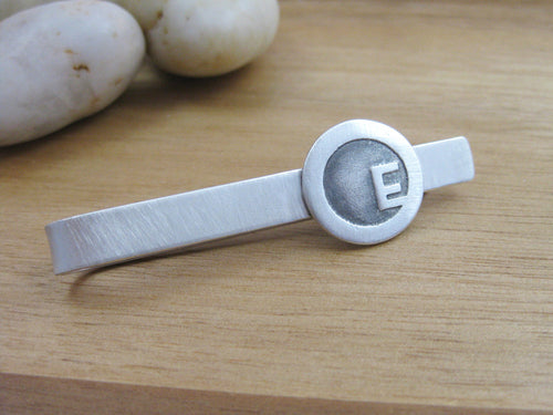 Personalized Initial Tie Bar Sterling Silver
