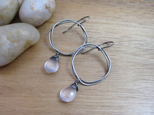 Rose Quartz Oxidized Sterling Silver Organic Circle Dangle Earrings
